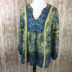 Sundance Green Blue Pattern Blouse Size Small